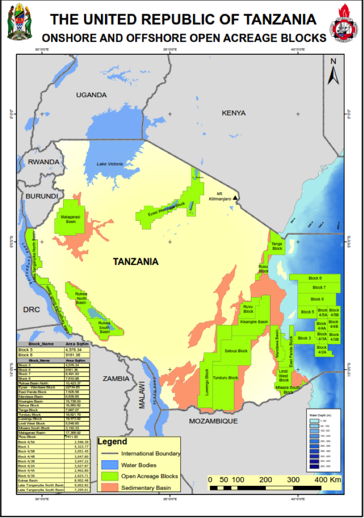 Tanzania Onshore and Offshore Open Acreage Blocks